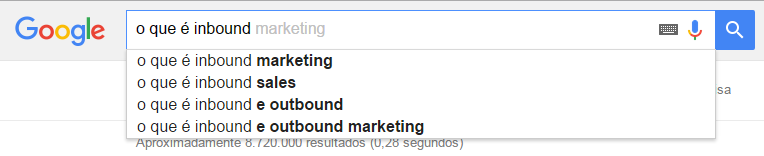 Pesquisa no google Inbound Marketing
