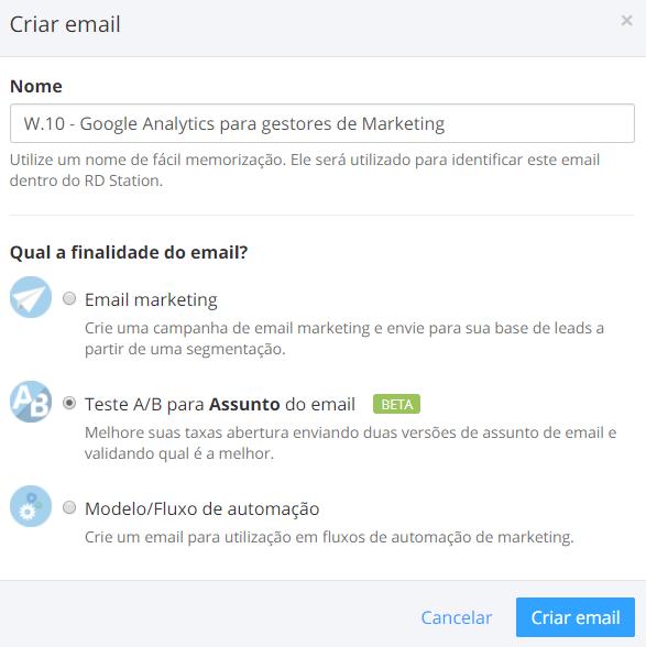 Criar E-mail Teste A/B