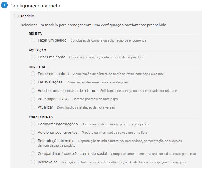 Configurar Meta do Teste A/B