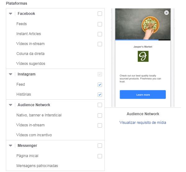 anúncios do facebook - plataformas