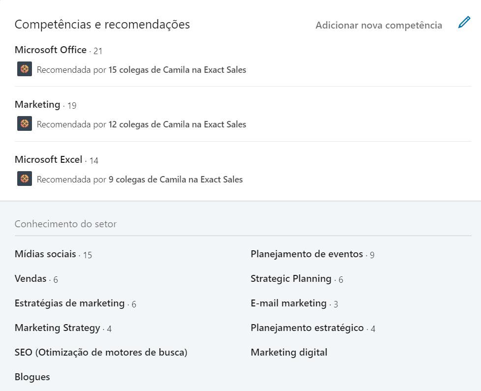perfil no linkedin competências