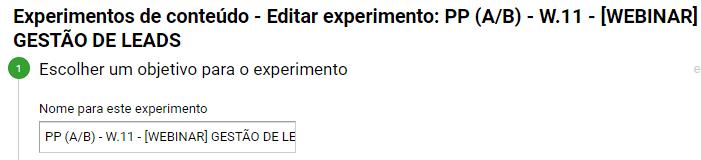 Editar Experimento Testes A/B