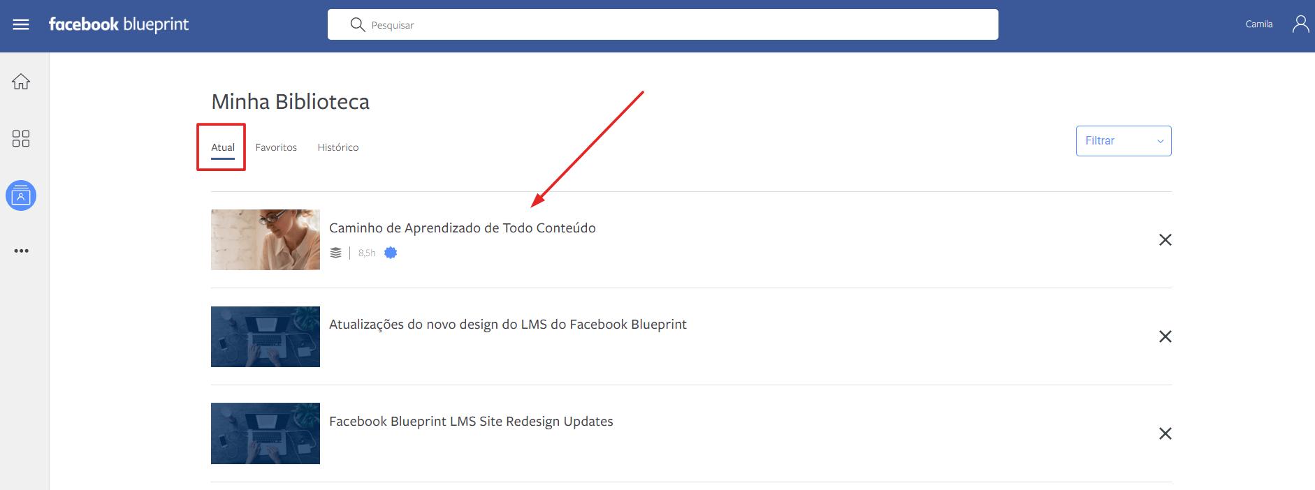 acessar caminho de aprendizado facebook blueprint